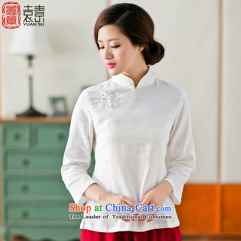 Mr Yuen modesty courage�15 new autumn replacing Tang dynasty cotton linen clothes arts 7 Cuff daily improved qipao shirt female ethnic women White燤