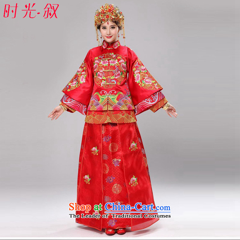 The Syrian Arab Republic�15 marriage-soo time wo service Chinese Dress retro wedding dress manually use Su Su kimono skirt Wo Service bridal dresses costume marriage solemnisation wedding gown red燲XL