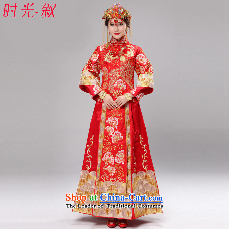 Time the爊ew 2015 Syria high-end-use dragon serving wo embroidery wedding dress bride dress Chinese wedding dress costume bows service gold and silver thread use skirt red燲S