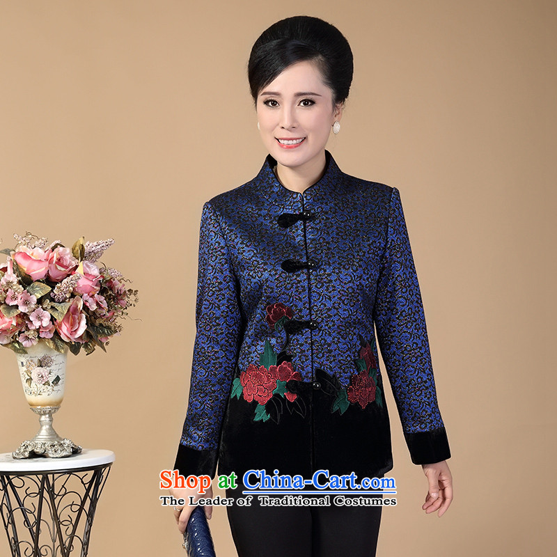In 2015, the brothers were logo of older women with loose autumn and winter mother jackets Chinese elderly larger Mock-neck festive Tang jackets Mudan blue燲L