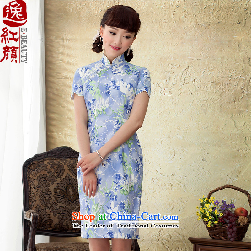 A Pinwheel Without Wind Yui decreased by 2015 to escape the new summer qipao cotton stamp stylish blue skirt qipao improved Sau San S