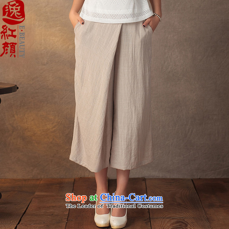 A Pinwheel Without Wind-ink emulation Yat Ma video thin Capri China wind retro improved national wind Sau San Solid Color ladies pants beige聽L