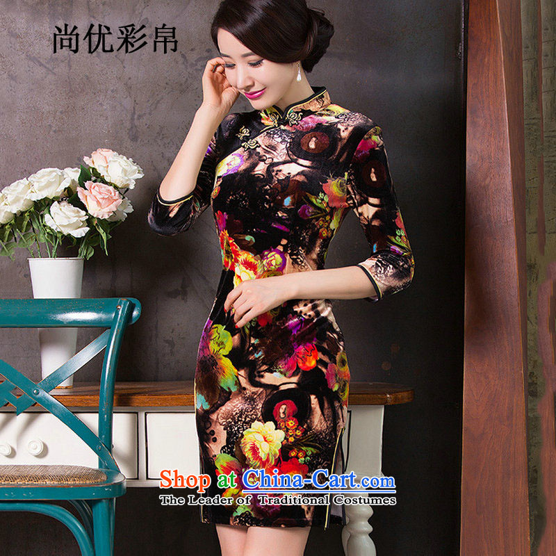 There is also a grand celebration Ms. Optimize Replace autumn cheongsam dress retro improved new temperament MOM 2015 replacing qipao gown sm6550 skirt picture color燲XL