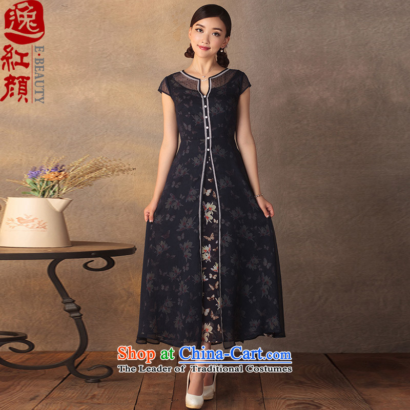 In accordance with Long Yat lady of the Antarctic snow, woven dresses Summer 2015 new product literature and art nouveau China wind dresses navy?M