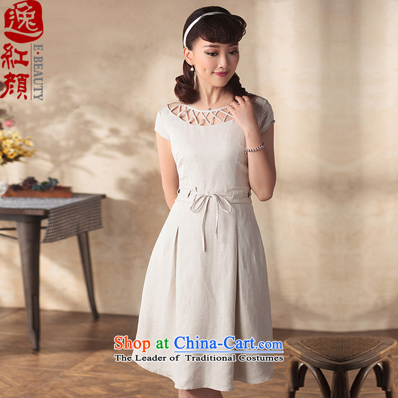 A Pinwheel Without Wind brigade dream beauty Yat dresses for summer 2015 new products 3 color retro arts improved Foutune of dresses beige  L