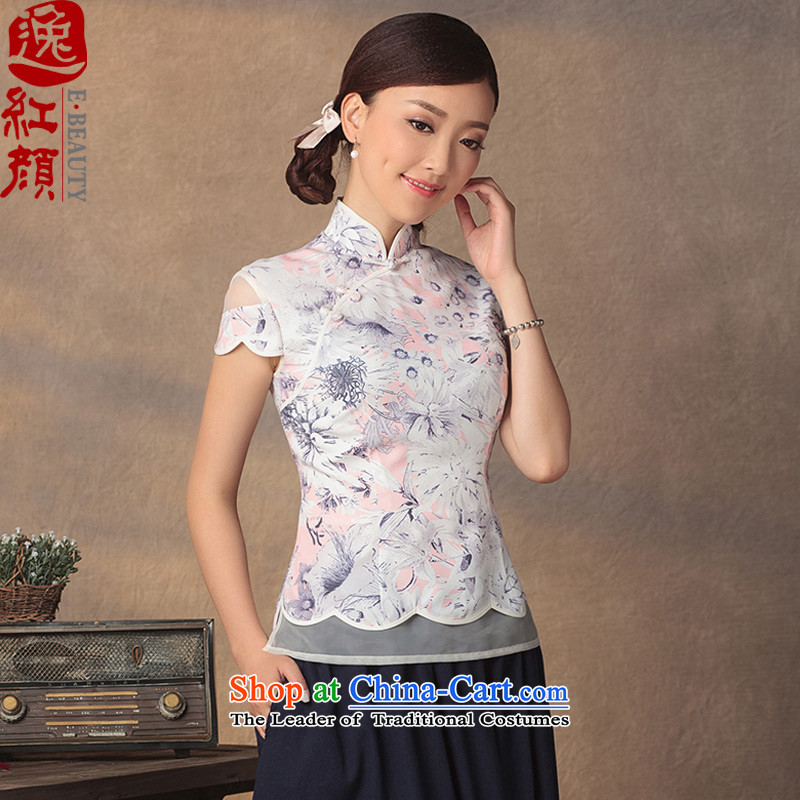 A Pinwheel Without Wind Flower-Madeunlike Yat Xia Xue woven shirts 2015 Summer qipao new products of ethnic retro short-sleeved blouses Tang pink  L
