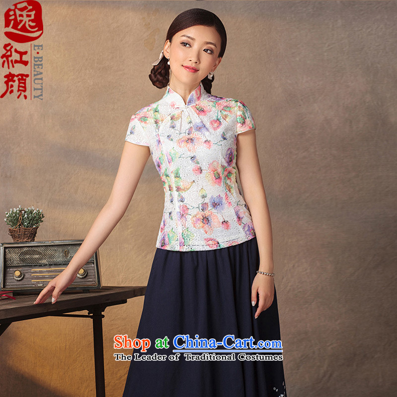 A Pinwheel Without Wind Butterflies-Yuk Yat�15 Summer retro China wind improved Han-summer ethnic Republic of Korea qipao shirt suit� L