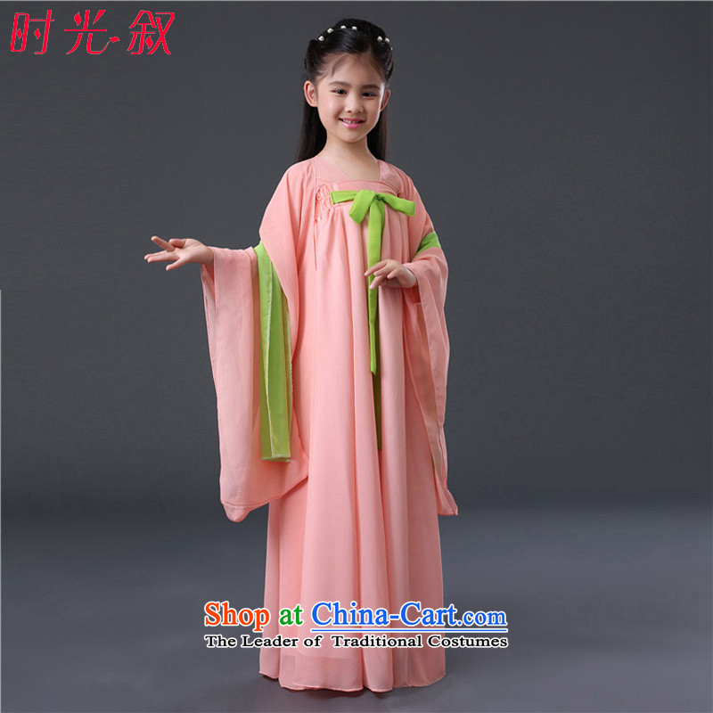 The Syrian children costume early childhood time pink fairies children Han-girl scholar, the services will start with the girl child children wearing aprons Goodfriend Deodorant Powder Pink fairies 120CM