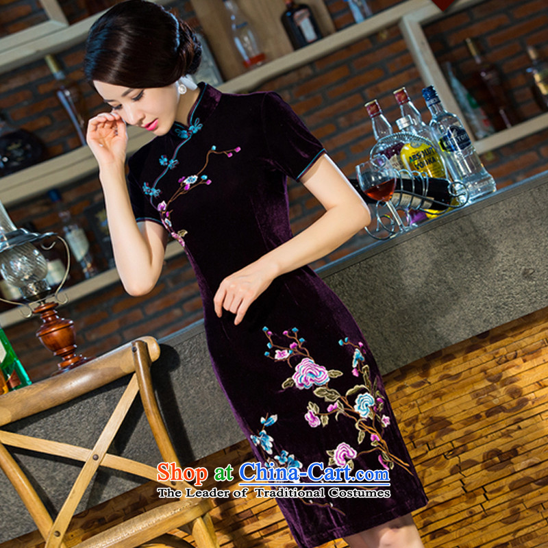 The US by 2015 new moms siang wedding Kim scouring pads retro dresses cheongsam dress improved skirt燲XXL Purple