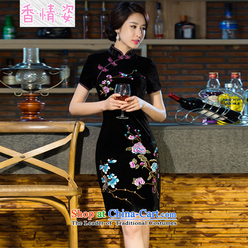 The Champs Elysees Beauty of 2015 new moms wedding Kim scouring pads retro dresses cheongsam dress improved燲XXL black skirt