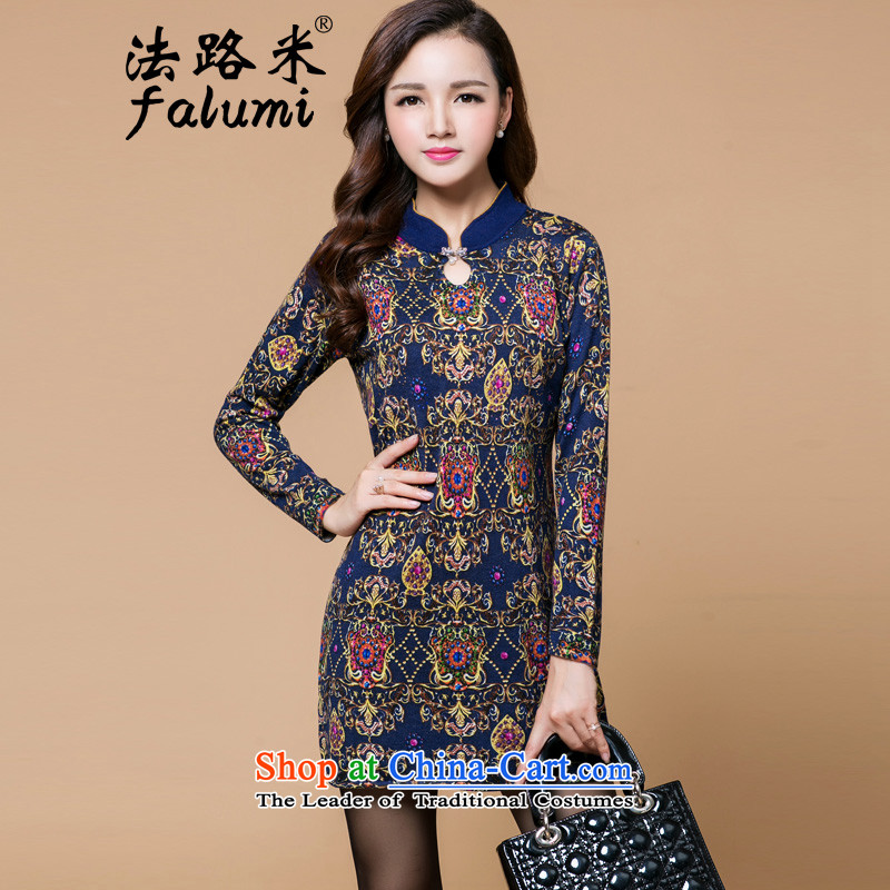 Law-M 2015 autumn and winter new sweater cheongsam dress female Sau San A thin graphics woolen knitted sweaters forming the skirt skirt燘8006燲XXL_125 Dark Blue
