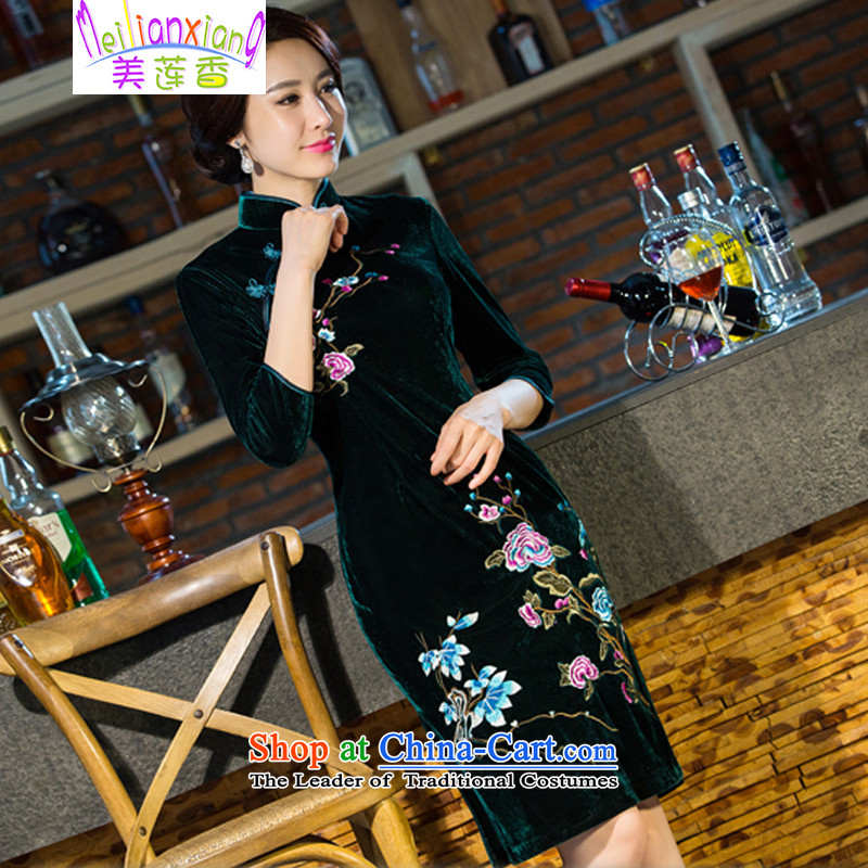 The US by 2015 autumn and winter siang new moms with scouring pads in the skirt qipao Kim sleeve length_ Improved retro wedding green燤