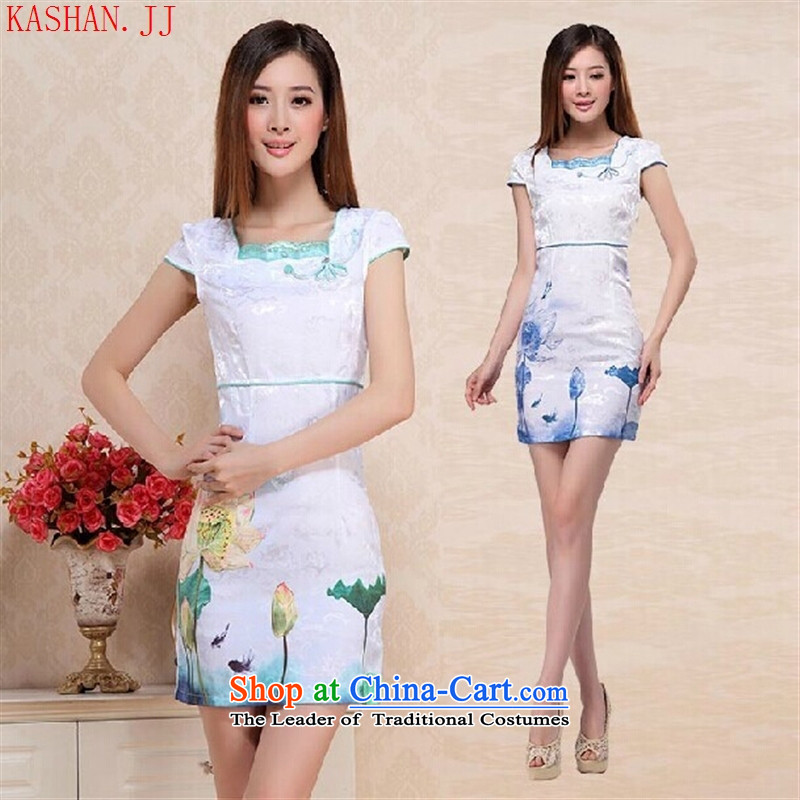 The Stylish retro-hwan's Lotus cheongsam dress for�summer 2015 new improved Starke robe qipao0751 green�S