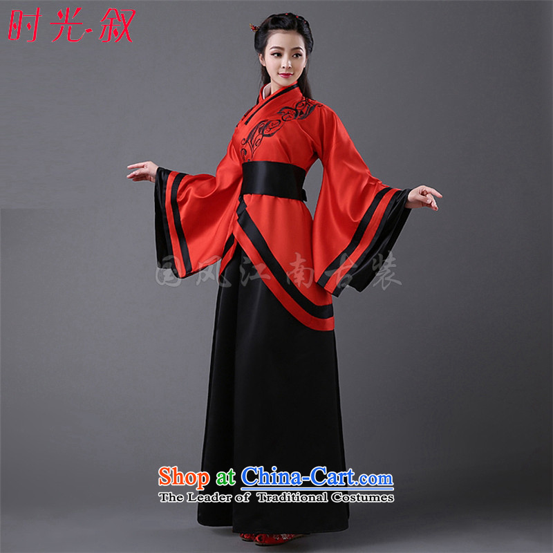 Time Syrian costume clothing Han-Han dynasty Clothing Song female comedies were deeply Yi Han-Women's improved Han-fairies skirt embroidery red black dress code for both floor 160-175cm
