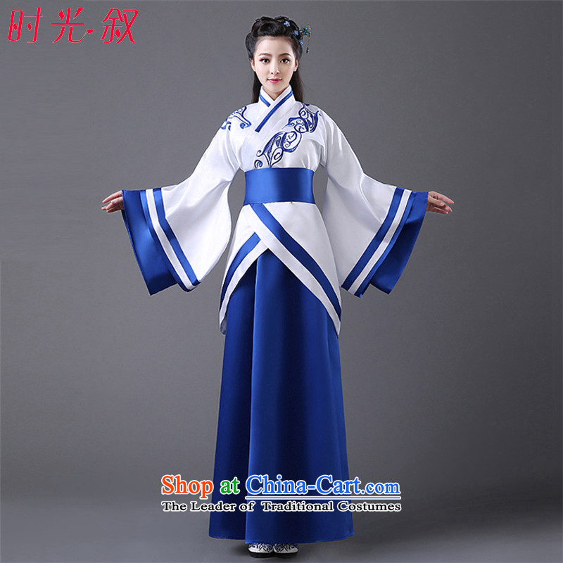 Time Syrian costume clothing Han-Han dynasty Clothing Song female comedies were deeply Yi Han-Women's improved Han-fairies skirt embroidery red black dress code for both floor 160-175cm, time Syrian shopping on the Internet has been pressed.