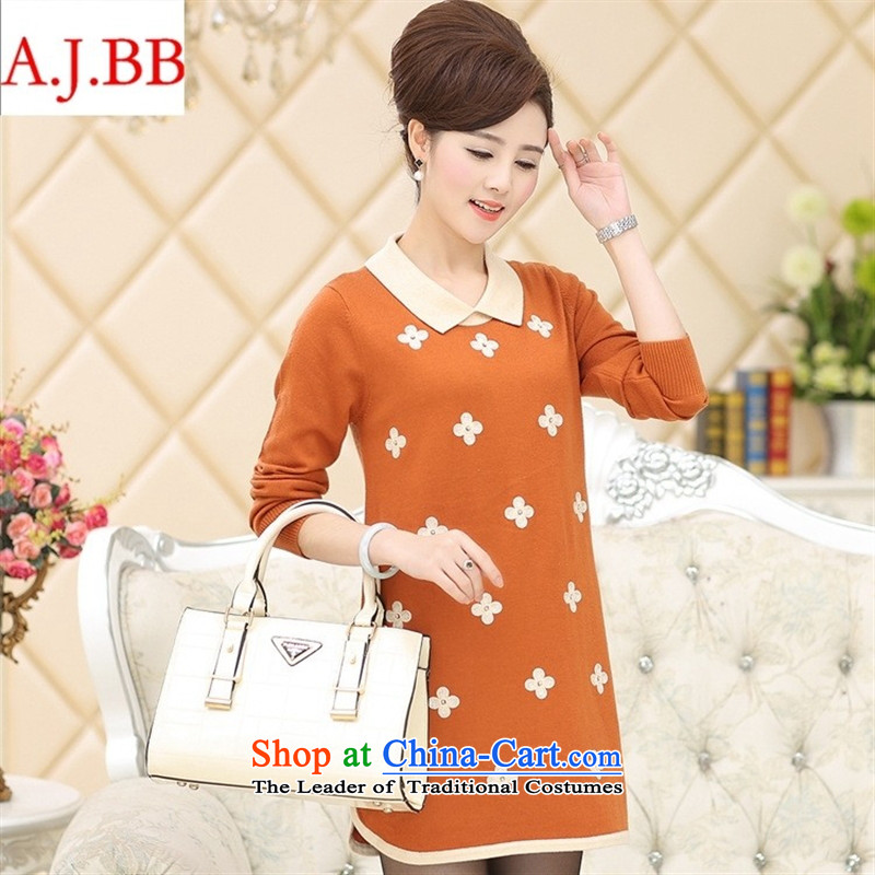 Orange Tysan *2015 autumn and winter in the new age, forming the dresses knitwear in middle-aged moms long dolls Neck Sweater Black?110
