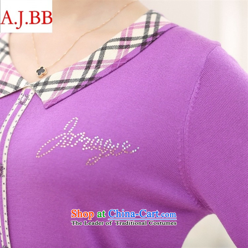 Orange Tysan * large middle-aged and older women's long-sleeved T-桖 autumn herbs extract MOM pack large relaxd lapel knitwear115,A.J.BB,,, deep purple shopping on the Internet