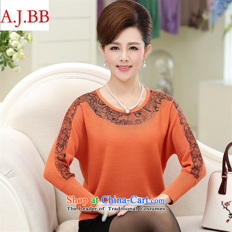 Orange Tysan _ load new moms autumn boxed long-sleeved bat sleeves shirt shirts, forming the elderly people in the middle-aged women 40-50 knitwear Orange聽115