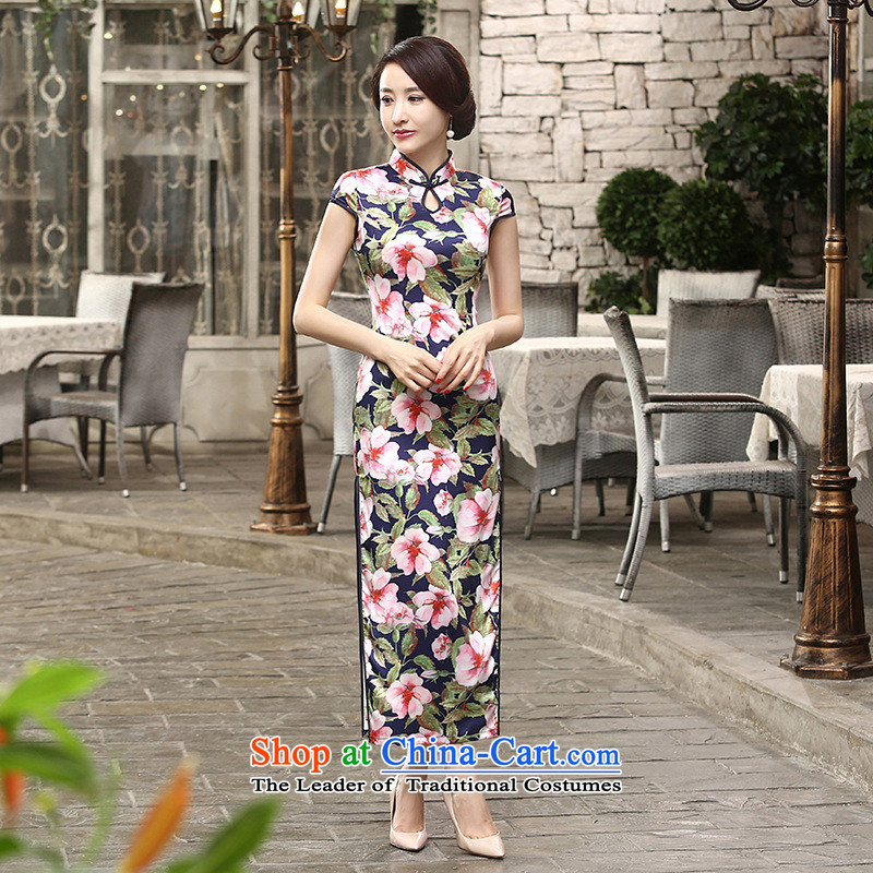 158 Jing new daily retro silk dresses short-sleeved long double qipao Sau San?C0018?picture color?XL