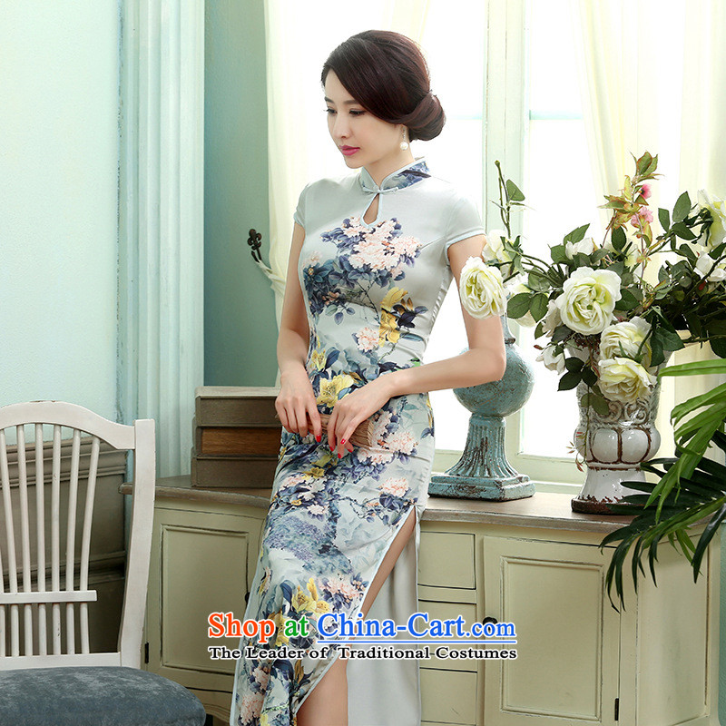 158 Jing new daily retro silk dresses short-sleeved long double qipao Sau San聽C0017聽picture color聽L
