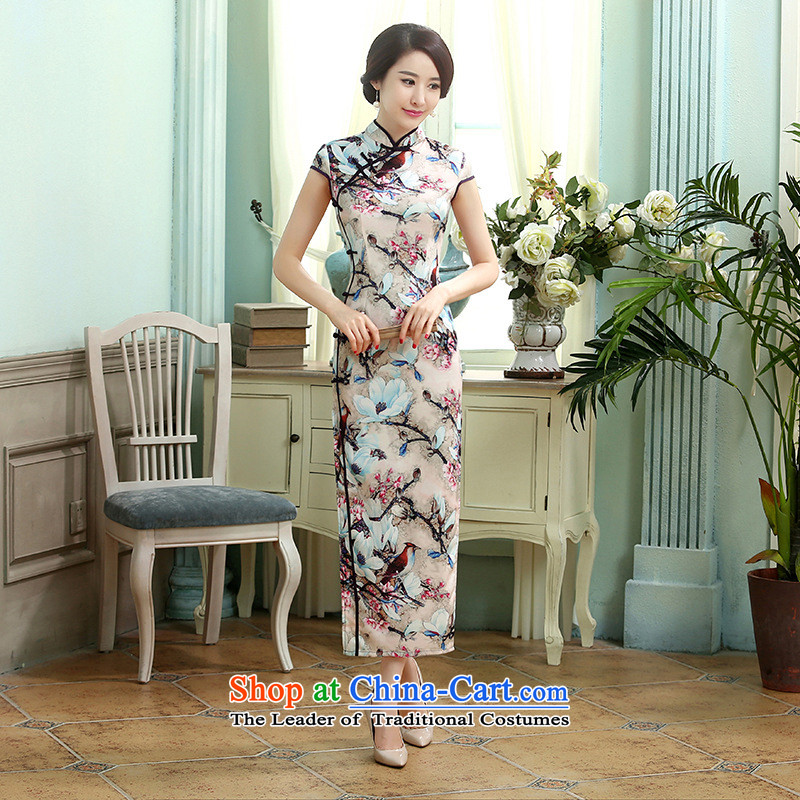 158 Jing new daily retro silk dresses short-sleeved Sau San Single Row 10 detained longer qipao燙0015爌icture color�L