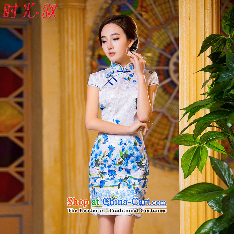 Time Syrian燙hinese qipao 2015 new stylish improved female skirt temperament video thin package     and video thin dresses燲L