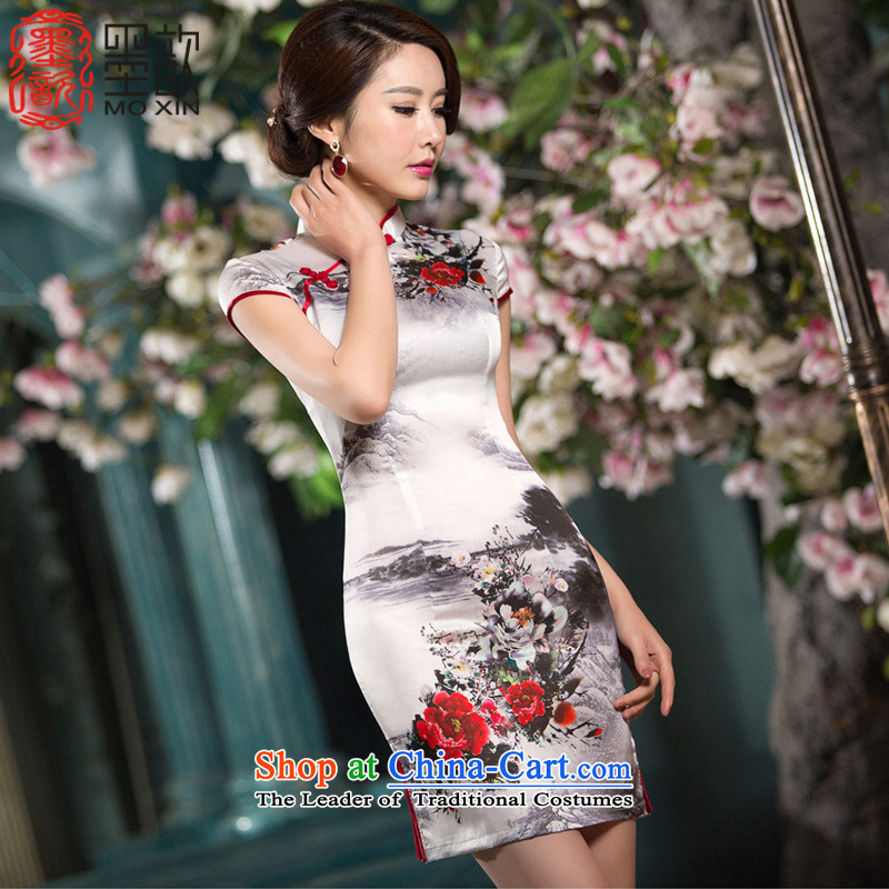 Ink ? Hiu also new 2015 summer short of improvement and Stylish retro Silk Cheongsam Chinese ink dresses SZC1520 white燣