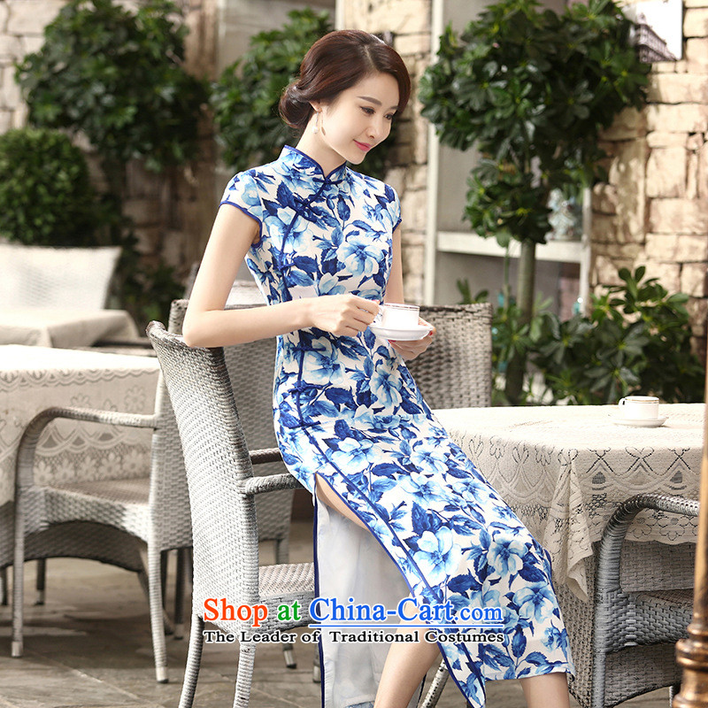 158 Jing new daily retro silk dresses short-sleeved long double 10 Sau San tie long qipao?C0014?blue?2XL