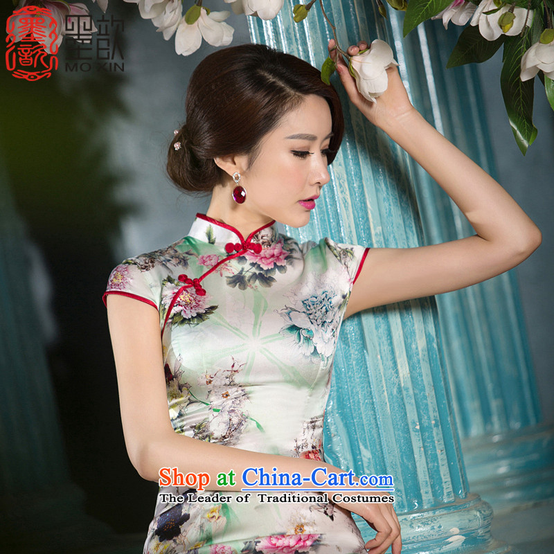 The ink-yui聽2015 new 姝�, National Women's Stylish retro-heavyweight Silk Cheongsam improved聽SZ S2217 daily M