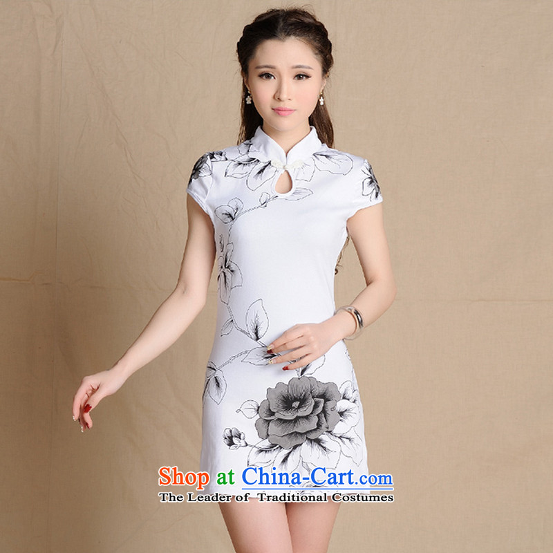 The end of the shallow cheongsam dress of ethnic Chinese ink painting short skirts燘531-5907 Sau San爓hite燣