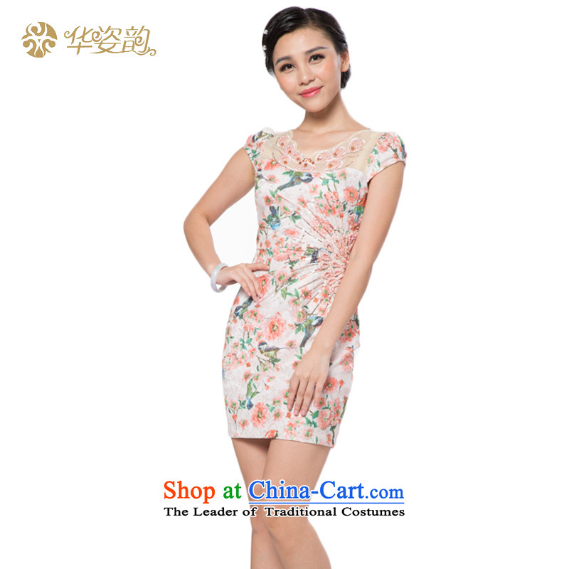The 2015 autumn Gigi Lai Hua new women's new summer short-sleeved dresses, stylish, Sau San video thin short stamp qipao improved flag summer Sau San light orange?M