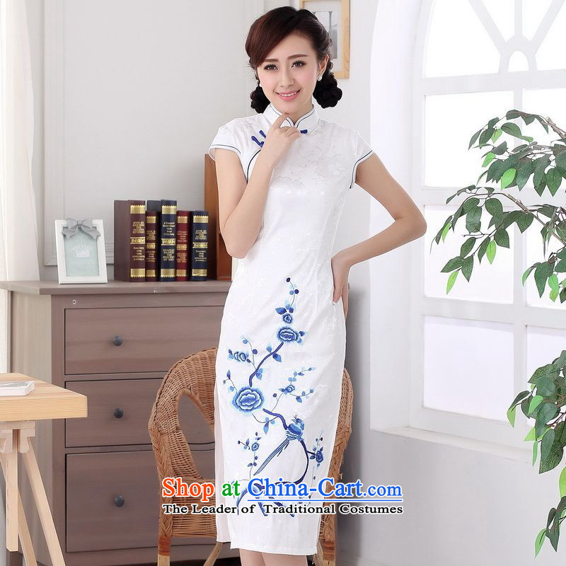 158 Jing cotton embroidery water droplets collar short-sleeve in Sau San long qipao?C0011?White?2XL