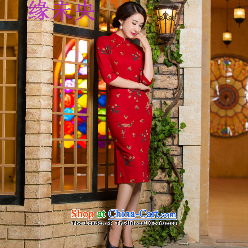 The leading edge of the YI I fall 2015 new for women in Sau San video thin retro large cuff improved linen long skirt N321C9036 qipao Samui red?XXL