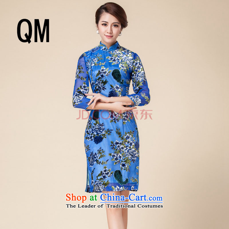 At the end of light Silk Cheongsam mother retro qipao cheongsam dress suit?RX141723 marriage?blue?XL