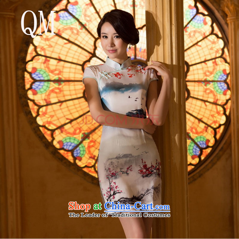 At the end of light Silk Cheongsam qipao stylish Sau San ethnic retro skirt video thin cheongsam燜ZZ062 banquet爌icture color daily燣