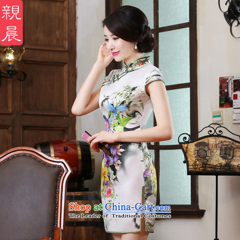 The pro-am daily improved cheongsam dress new summer 2015, Large Chinese Antique short of cheongsam dress suit?M