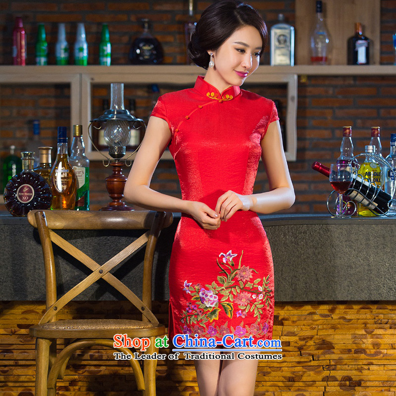 Yuan of?autumn 2015 replacing qipao splendid dress new cotton temperament qipao short-sleeved embroidered retro improved qipao gown?QD003 chinese?red?L