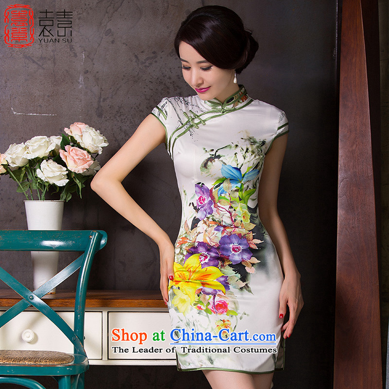 Yuan of Orchid Pavilion summer qipao skirt new retro temperament improved cheongsam dress short-sleeved gown?QD250 Ms. daily qipao?white?L