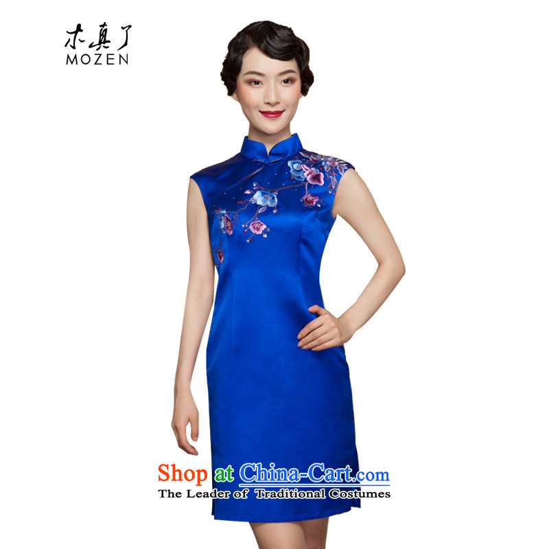 Wood, an improved cheongsam dress really fall 2015 installed new women's dresses skirt 43038 embroidery 10 dark blue聽XL