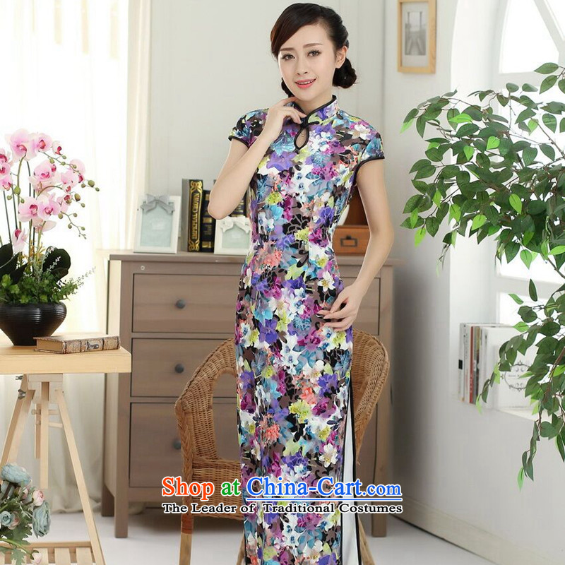 Dan breathing new for women Chinese qipao and long elegant beauty collar really improved scouring pads long skirt dress e heart聽XL