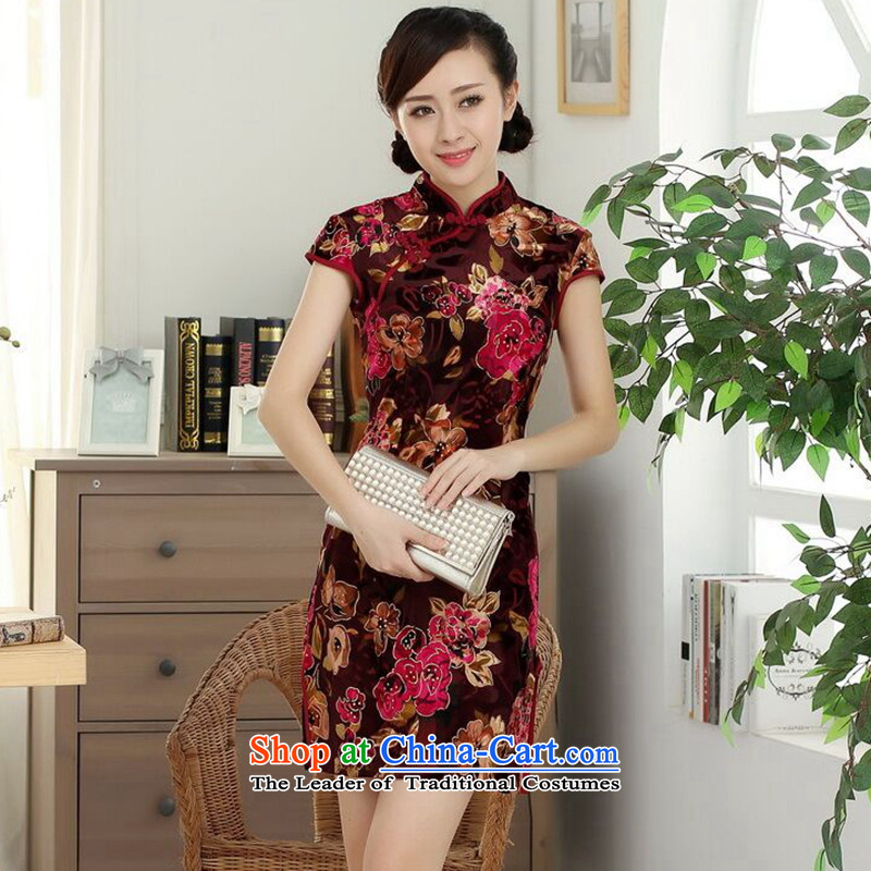 Dan breathing new for women Chinese improved Stretch Wool poster stylish Kim Classic short-sleeved short cheongsam dress all? XL