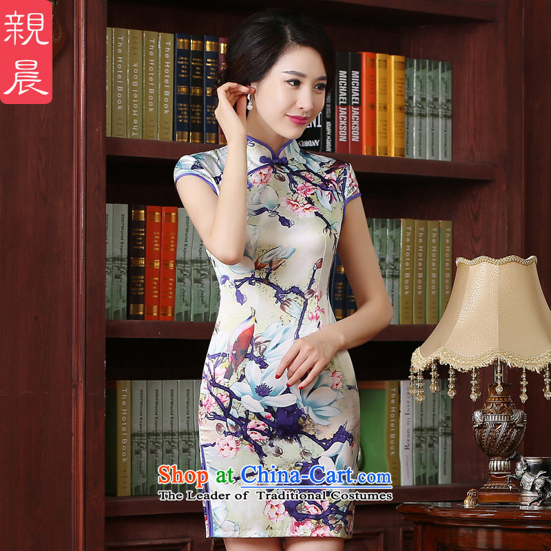 The pro-am new improved cheongsam dress short of 2015 summer daily maximum code, Sepia Sau San cheongsam dress short,?2XL