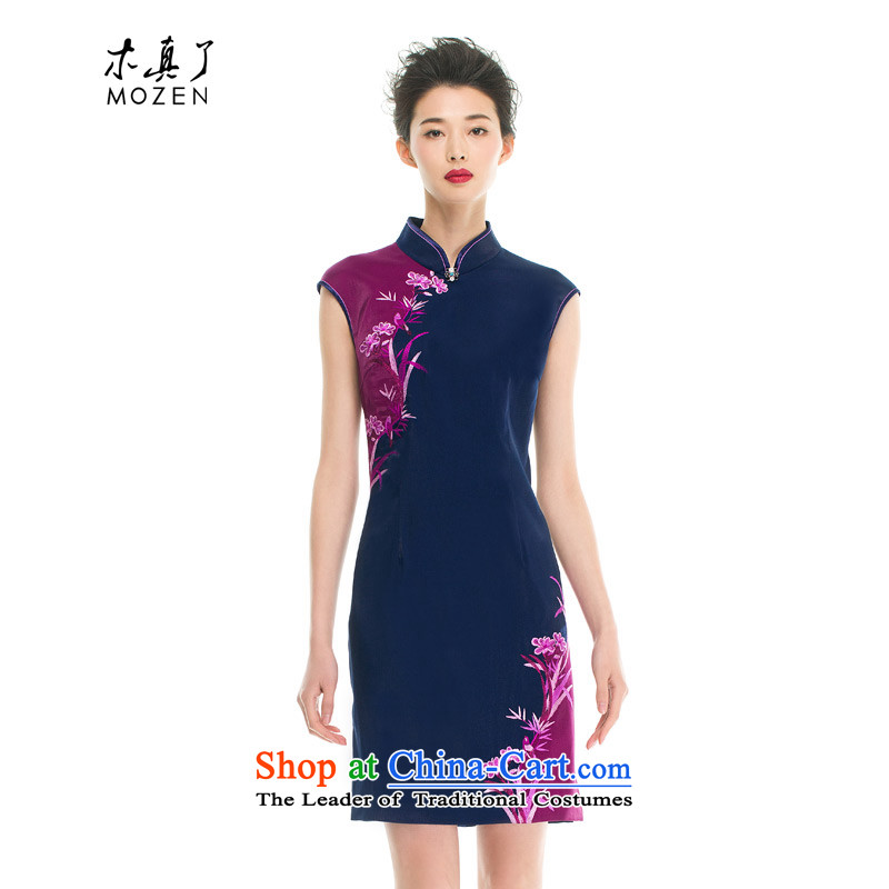 Wood, an improved cheongsam dress really fall 2015 installed new women's retro plane collision color embroidery cheongsam dress 43129 10聽Xxl_a_ Dark Blue