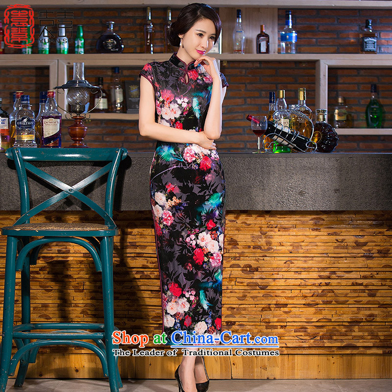 Yuan of night and day temperament qipao skirt new plush robes improvement of qipao gown long qipao retro?QD256 Ms.?picture color?XXL