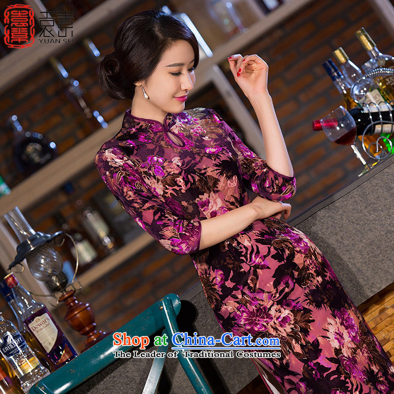 Yuan of red velvet cheongsam dress Maple Leaf new seven long-sleeved cheongsam look stylish cheongsam dress retro improved cheongsam dress?QD266?picture color?L