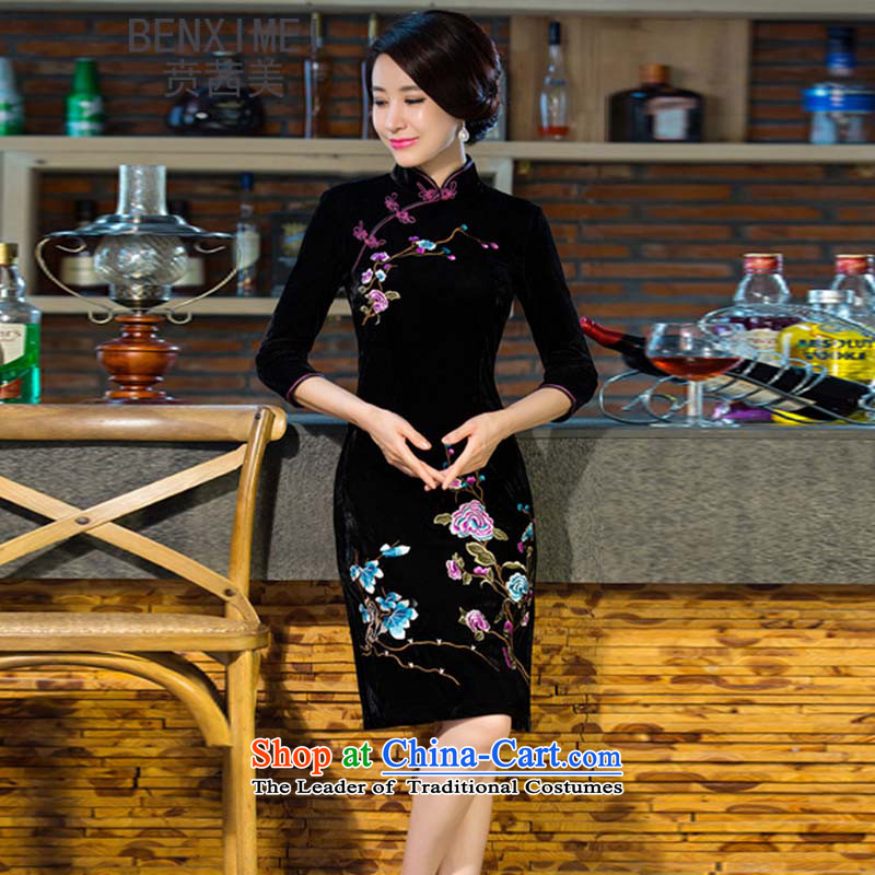 Mrs Ure Mei? 2015 Ben new autumn and winter Kim scouring pads dress retro dresses with improved female qipao mother skirt black?L
