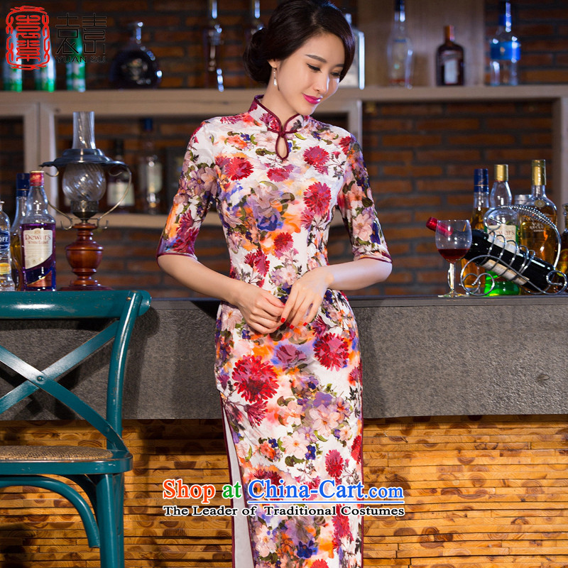 Mr Yuen is hung temperament cheongsam dress new stylish retro improved qipao 2015 Skirt daily qipao gown long qipao QD267 SUIT聽XL