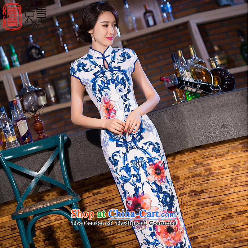 Yuan of spirit smoke porcelain cheongsam dress in new long cheongsam look stylish retro improved long qipao gown燪D270爌icture color燲XL