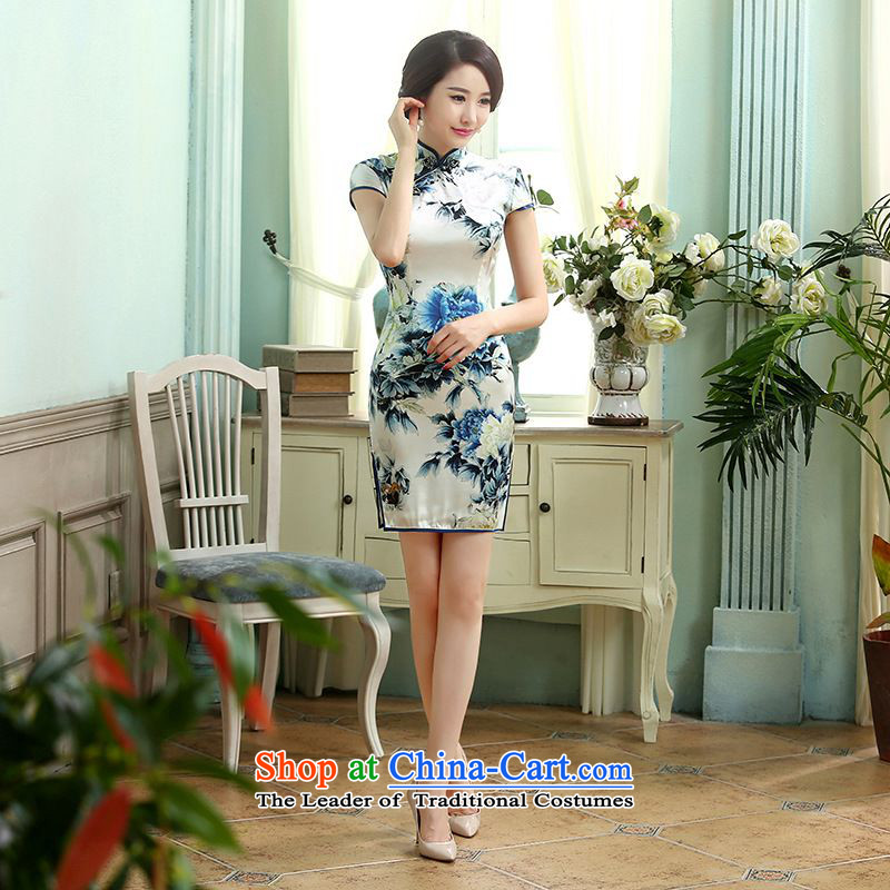 Yet the new floor floor summer dresses autumn colors pure silk positioning of Mudan Elastic satin poster short qipao Tang dynasty picture color?2XL