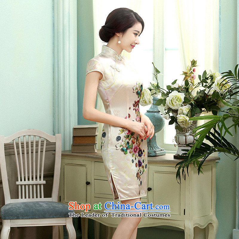 Yet the new floor floor summer dresses Tang dynasty autumn colors pure silk positioning of Mudan Elastic satin poster short qipao picture color?XL